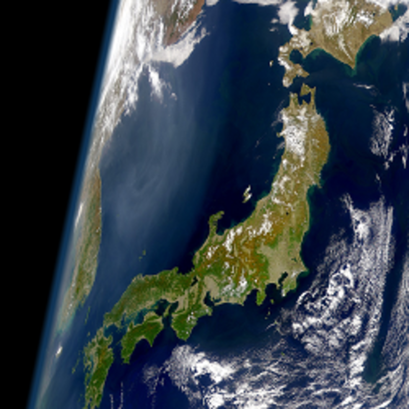 Japan aus der Weltraum-Perspektive: Foto: SeaWiFS Project, NASA/Goddard Space Flight Center, and ORBIMAGE [Public domain]